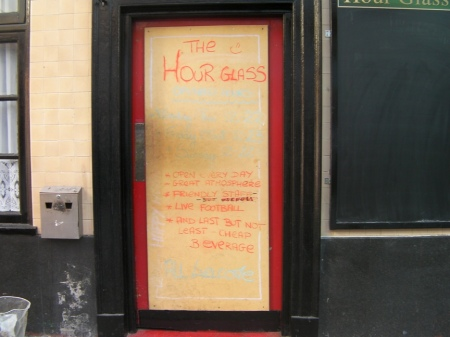 Front door of the Hour Glass Pub