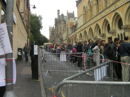 People in line to see the Banksy exhibit