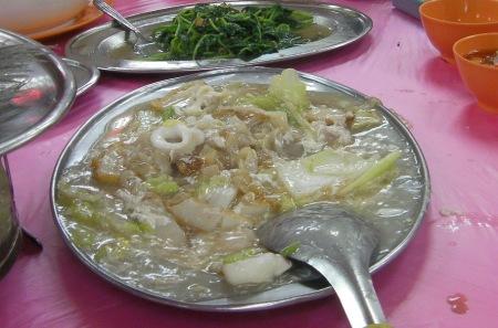egg flower, chicken, squid, noodle dish