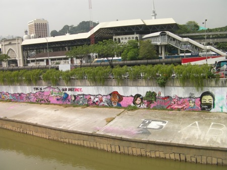 graffiti along the river in Kuala Lumpur