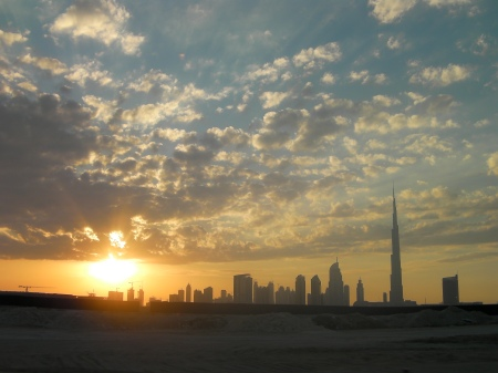 sunset and the Sheikh Zayed Road skyline, Dubai