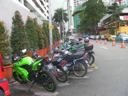row of parked motocycles