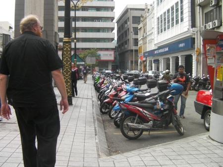 row of parked motorcycles