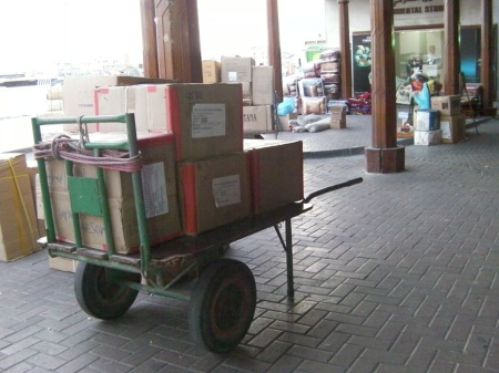 handcart loaded with boxes in the Spice Souk area