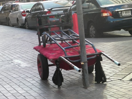 carts chained to a sign post