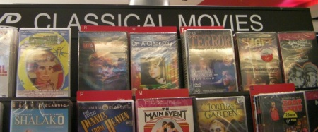 "section of DVDs labeled ""Classical Movies"""