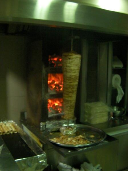 shawarma spit using coal fire