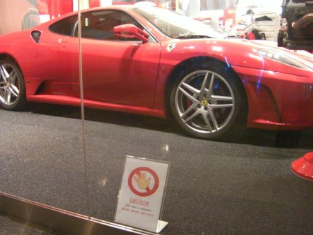 sports car in mall display window