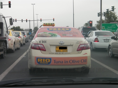 Tuna advertisement on a taxi