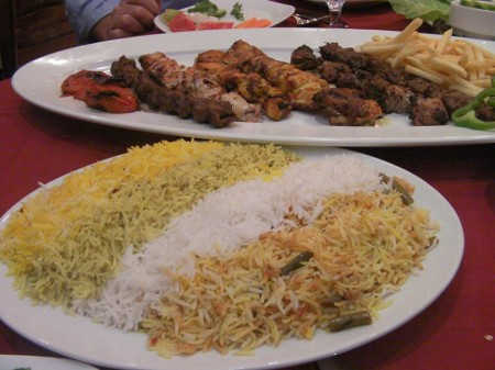 plates of four rices and mixed grilled meat
