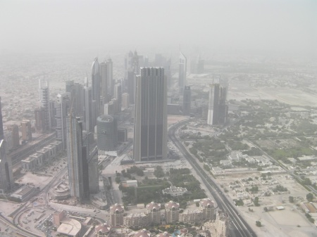 north view from Burj Khalifa observation deck