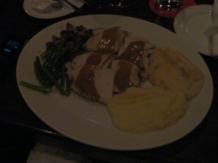green beans, mushrooms, turkey breast, mashed potatoes