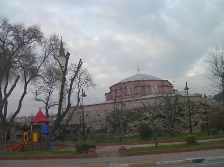 children's park, ancient wall and mosque