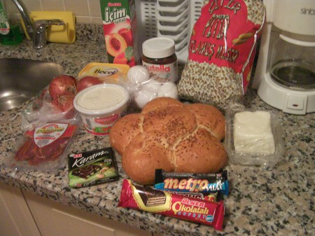 bread, butter, cheese, 4 candybars, onions, eggs, yogurt, juice, pistrami, popcorn