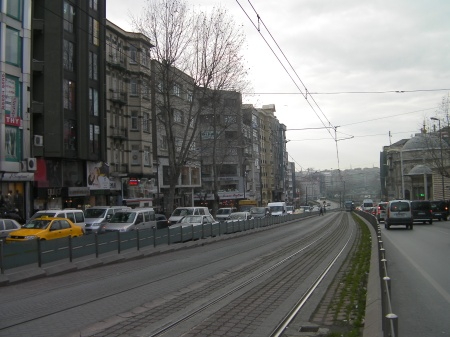 tram tracks down the center of the street