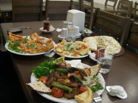 plates of kebab and pida