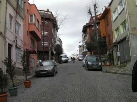 steep hill with cobblestone street