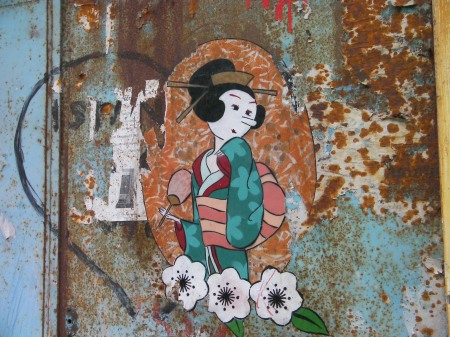 graffiti picture of Olive Oyl as a geisha