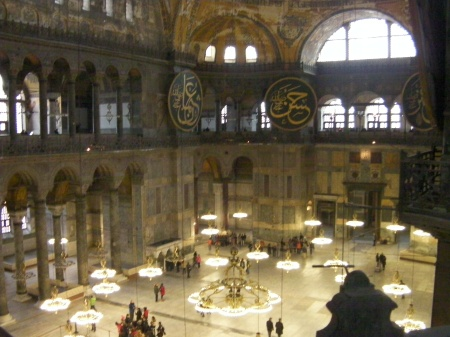 view of the main floor of the Hagia Sophia from the second floor