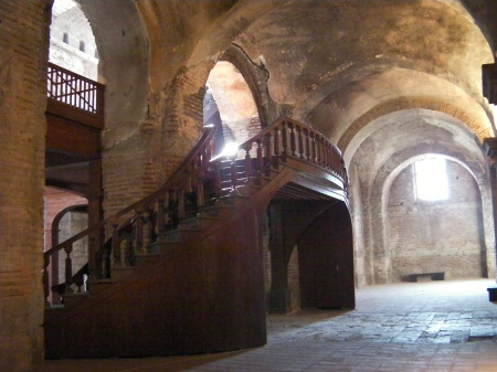 wooden stairs inside the Hagia Eirene
