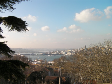 view from Topkapi hill toward the Galata Bridge