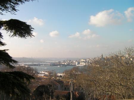view from Topkapi hill toward the Galata Bridge
