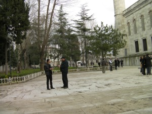 men standing outside the Blue Mosque