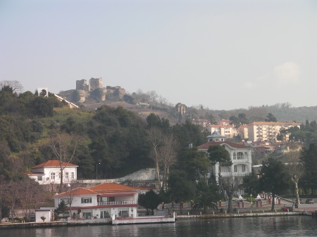 a town on the shore and a castle on the hill