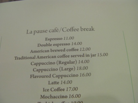 menu listing coffee options