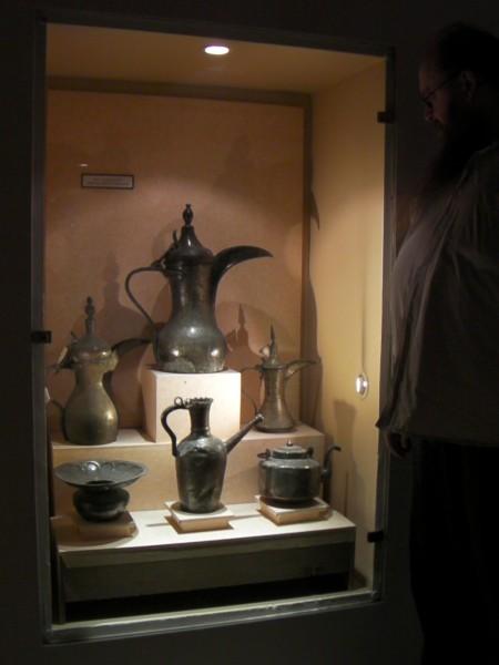 display of Arabic coffee pots