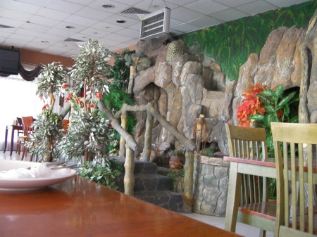 indoor fake waterfall and pond