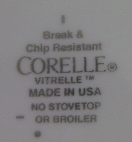 text from bottom of a Corelle plate stating Made in USA