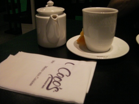 tea pot, cup and napkins
