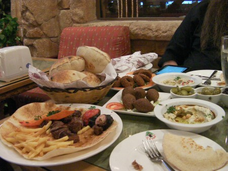 food including kabab, hommus, kebbeh, falafel