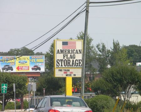 sign for American Flag Storage