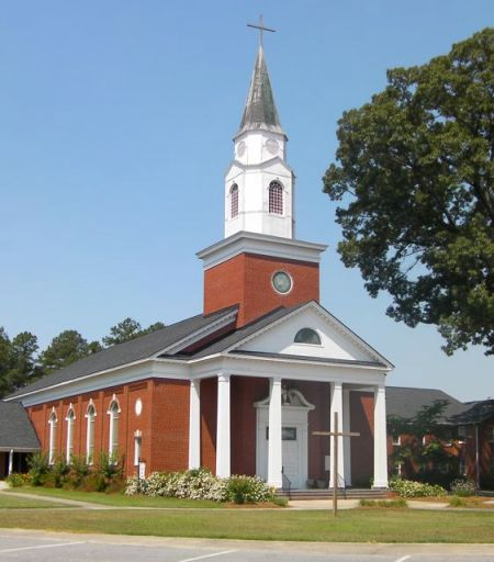 red brick church building