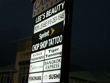 business sign for Chop Shop Tattoo