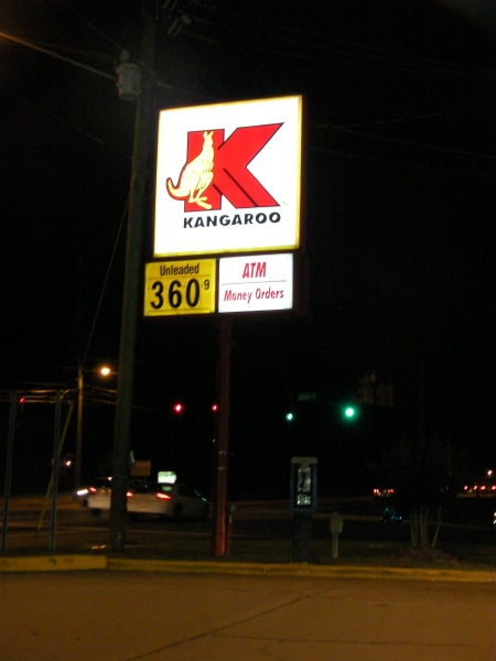 kangaroo gasoline station sign
