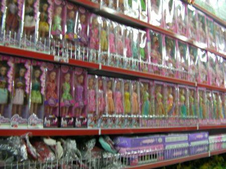 store aisle full of Barbie doll imitations