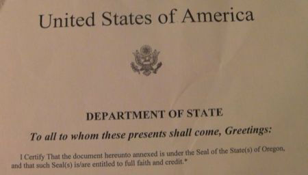 heading of the U.S. attestation document stating to all to whom these presents shall come, greetings