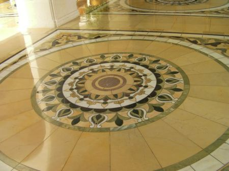 sunburst marble tiled design