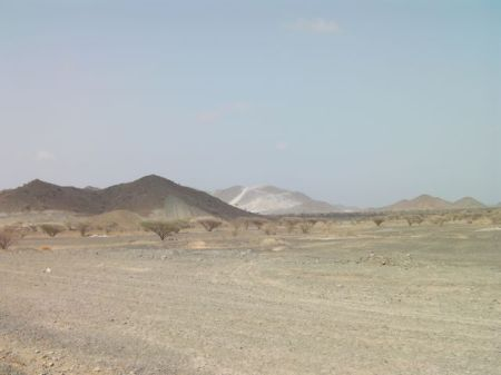 mountain and stone quarry in distance