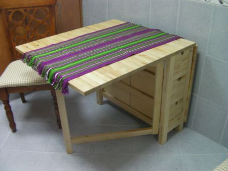 beechwood table with drop leaf sides
