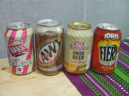 Barr cream soda, A & W root beer, Old Jamaica ginger beer, Idris fiery ginger beer