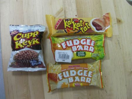 various packaged snack foods