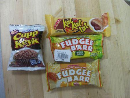 various packaged snack foods