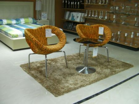 mod shaped chairs in tiger print
