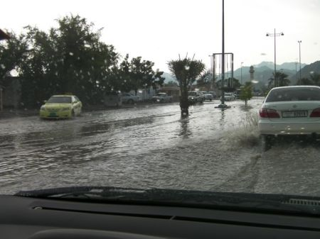 rain flooded street