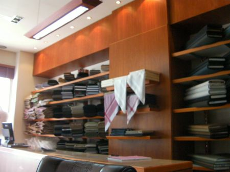 shelves full of fabric
