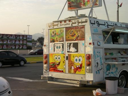 concessions truck plastered with pictures of Sponge Bob
